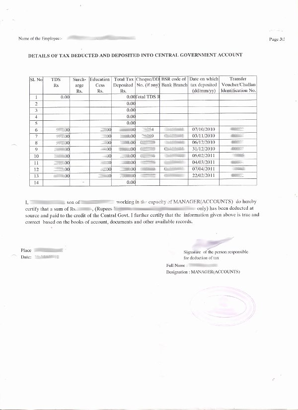 Proof Of Payment forms Awesome Tds form 16 Certificate the Proof In E Tax