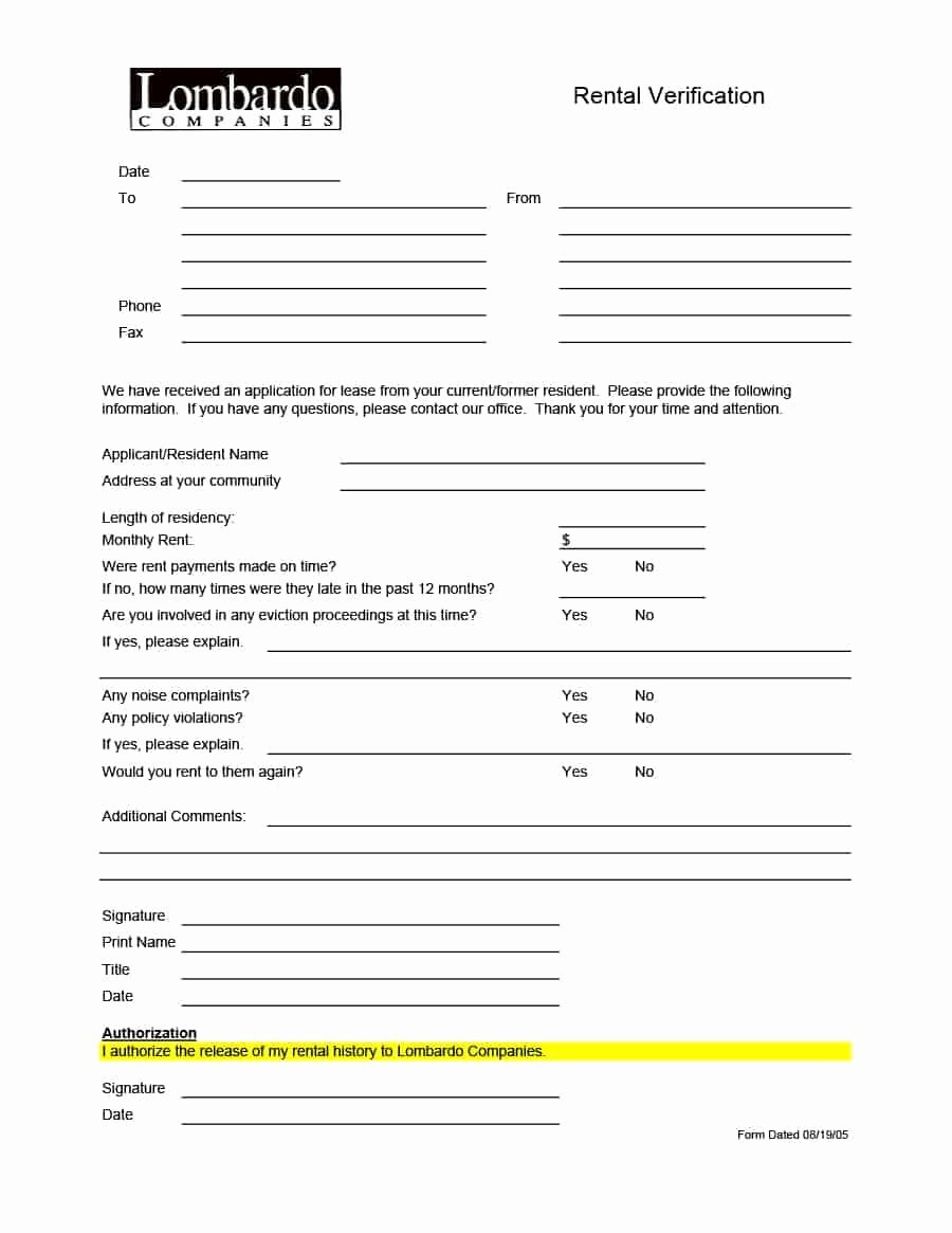 Proof Of Payment forms Best Of 29 Rental Verification forms for Landlord or Tenant