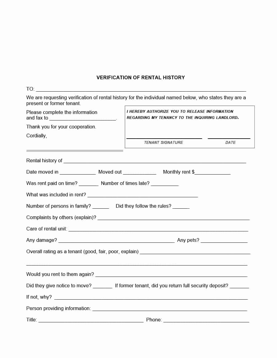 Proof Of Payment forms Lovely 29 Rental Verification forms for Landlord or Tenant
