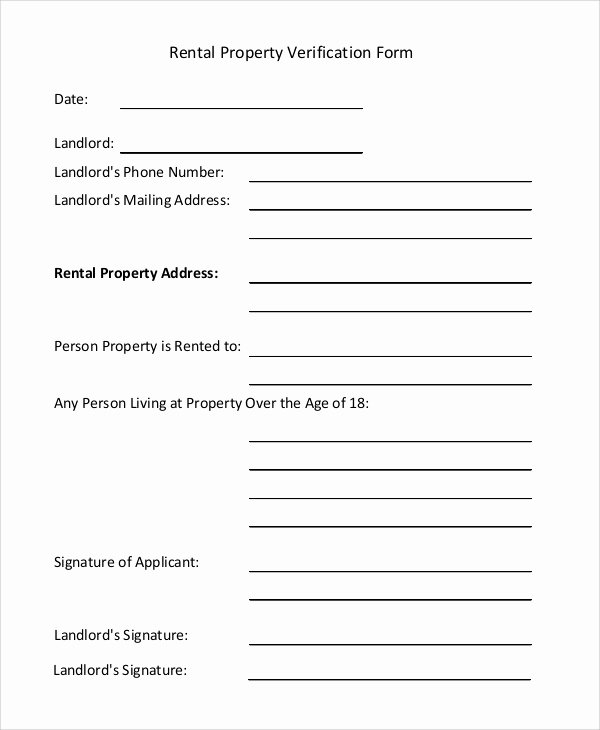 Proof Of Payment forms Luxury Sample Rental Verification form 10 Examples In Pdf Word