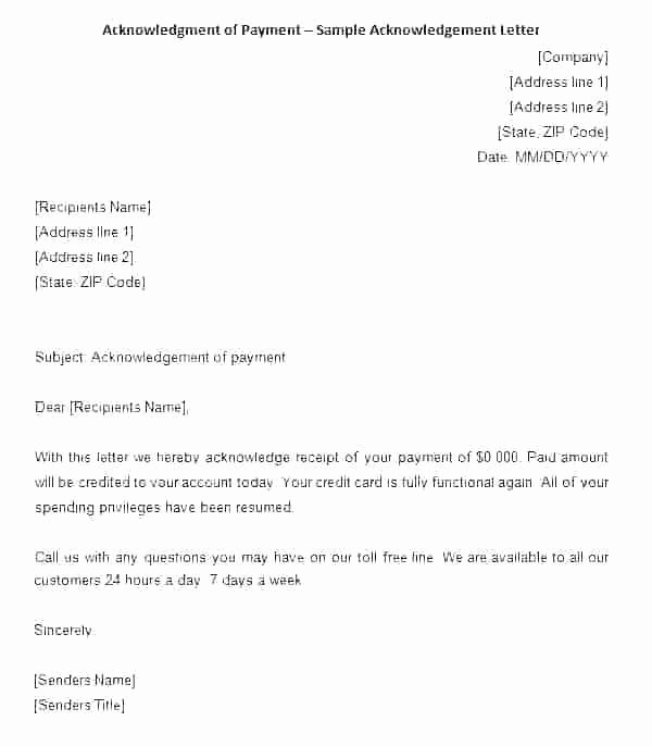 Proof Of Payment Receipt Inspirational Proof Payment Template Receipt Acknowledgement Letter