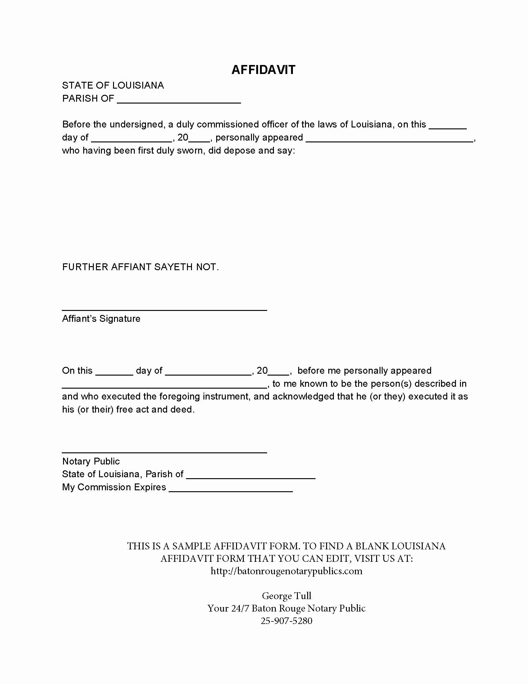 Proof Of Residency Letter for Dmv Elegant Blank Louisiana Affidavit