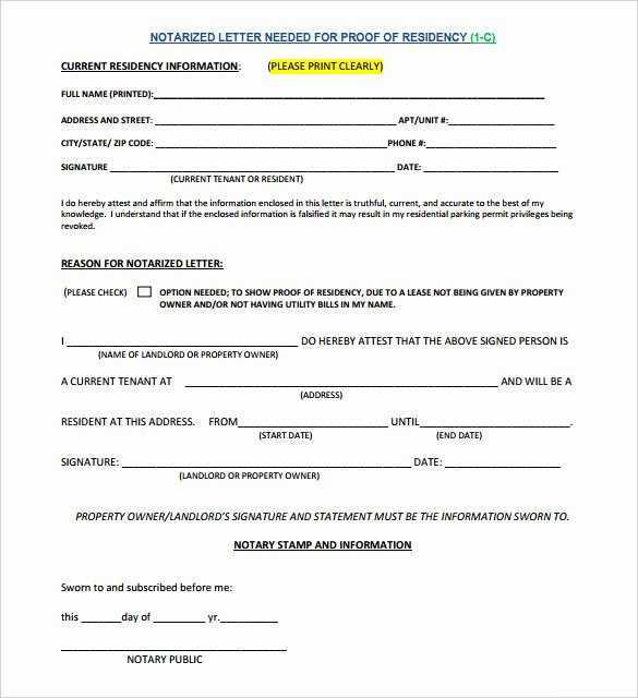Proof Of Residency Letter Pdf New 7 Notarized Letter Template Doc Pdf