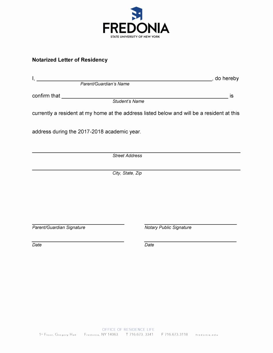 Proof Of Residency Letter Template Pdf Awesome Letter Residency format Sample Notarized Template Proof
