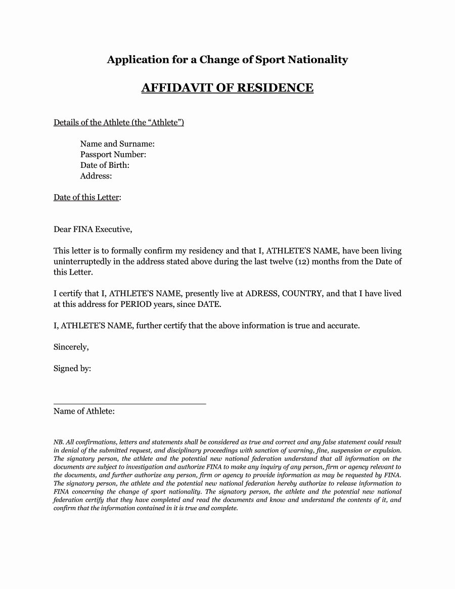 Proof Of Residency Letter Template Pdf Best Of 36 Proof Residency Letters From Family Member