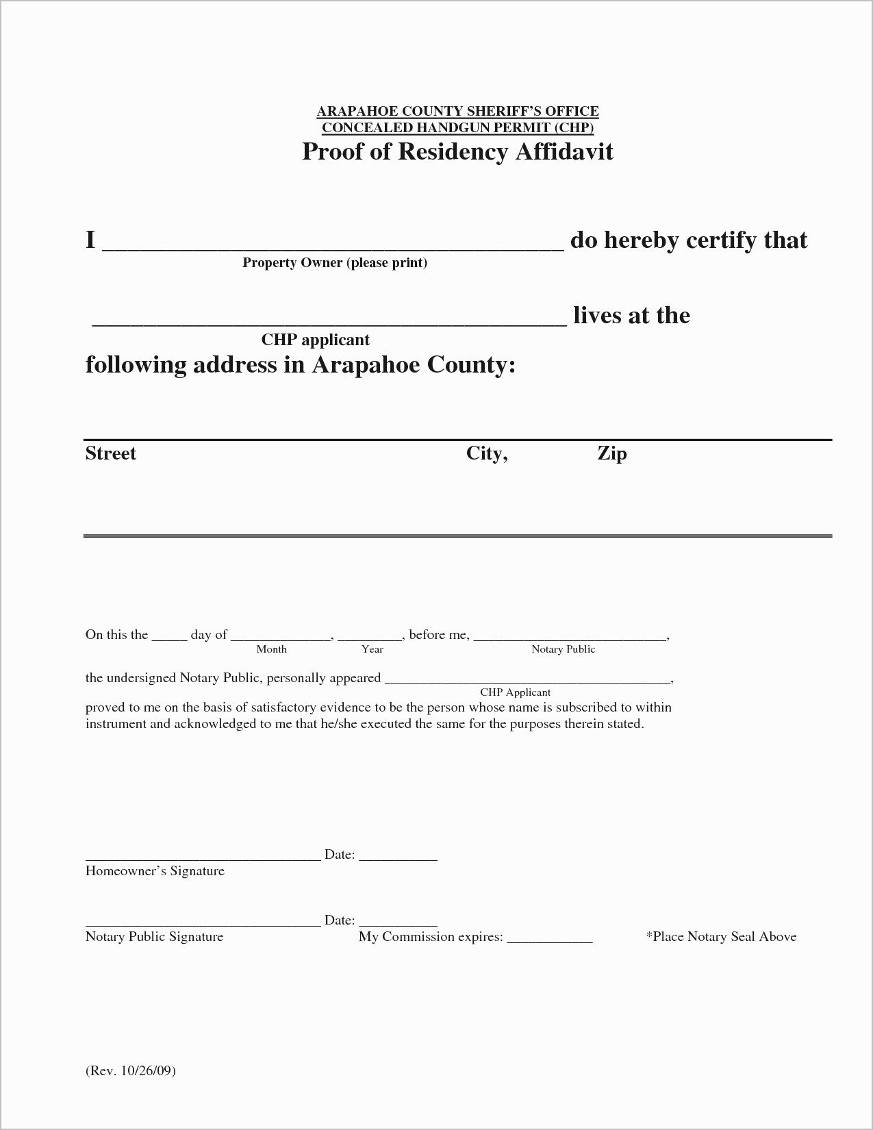 Proof Of Residency Letter Template Pdf Inspirational Proof Residency form to Be Notarized