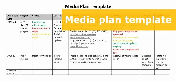 Public Relations Plan Template Awesome A Free Able Media Plan Template to Step Up Your Pr