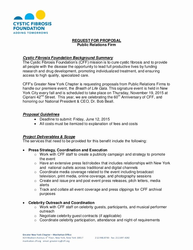 Public Relations Plan Template Elegant Cystic Fibrosis Foundation Request for Proposal Public