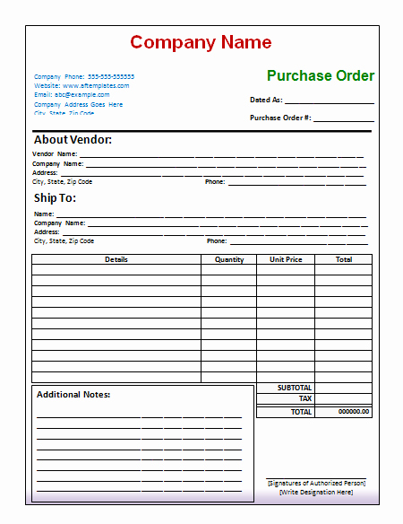 Purchase order Template Microsoft Word Luxury 40 Free Purchase order Templates forms