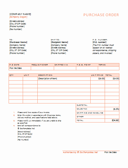 Purchase order Word Template Beautiful Purchase order Template Word for Office