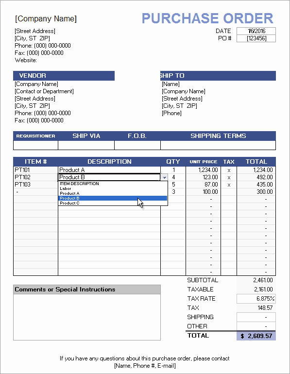 Purchase order Word Template Elegant Free Purchase order Template with Price List