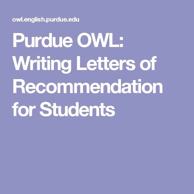 Purdue Letter Of Recommendation New Purdue Owl Writing Letters Of Re Mendation for Students