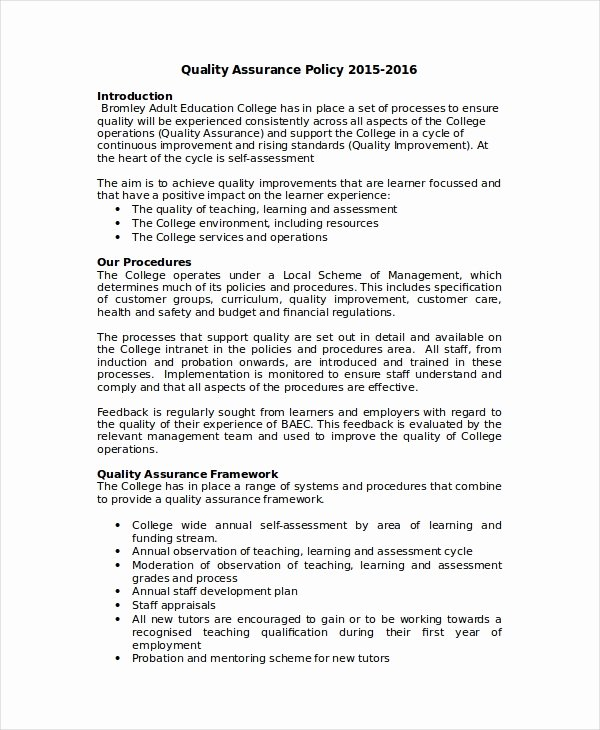Quality assurance Plan Template Elegant Quality Policy Template 8 Free Word Pdf Documents