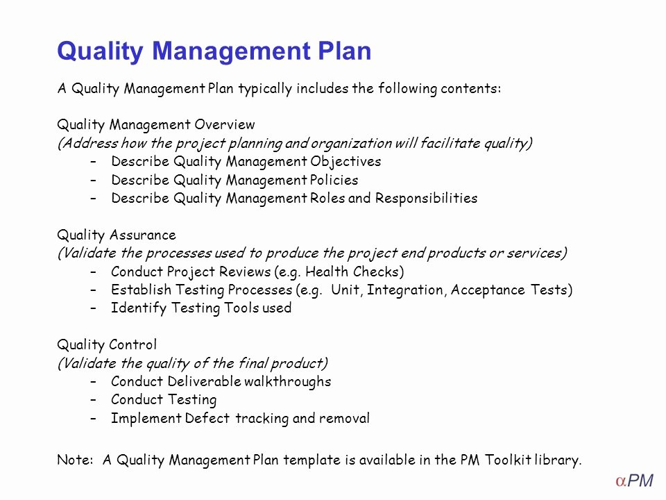 Quality assurance Plan Template Fresh How to Apply Quality Management Ppt Video Online