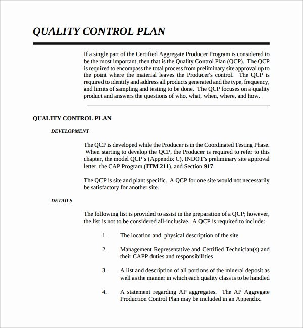 Quality assurance Plan Template Luxury 9 Quality Control Plan Templates