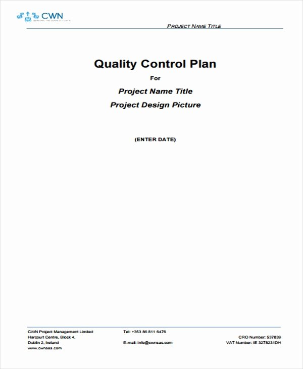 Quality Control Plan Template Awesome 9 Quality Management Plan Templates Free Pdf Word