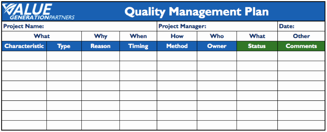 Quality Control Plan Template Construction Fresh Generating Value by Using A Project Quality Management