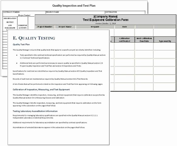 Quality Control Plan Template Elegant Project Plan Sample forms
