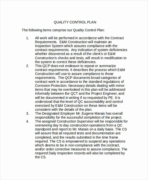 Quality Control Plan Template Lovely Quality Policy Template 8 Free Word Pdf Documents