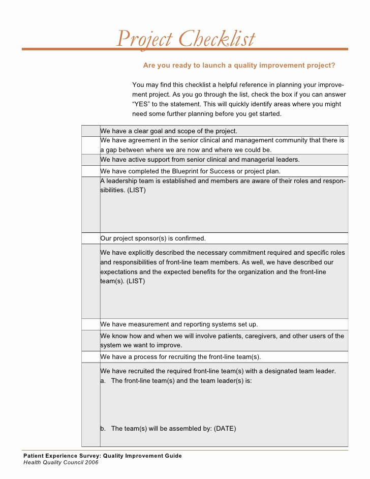 Quality Improvement Plan Template Beautiful Quality Improvement Project Guide