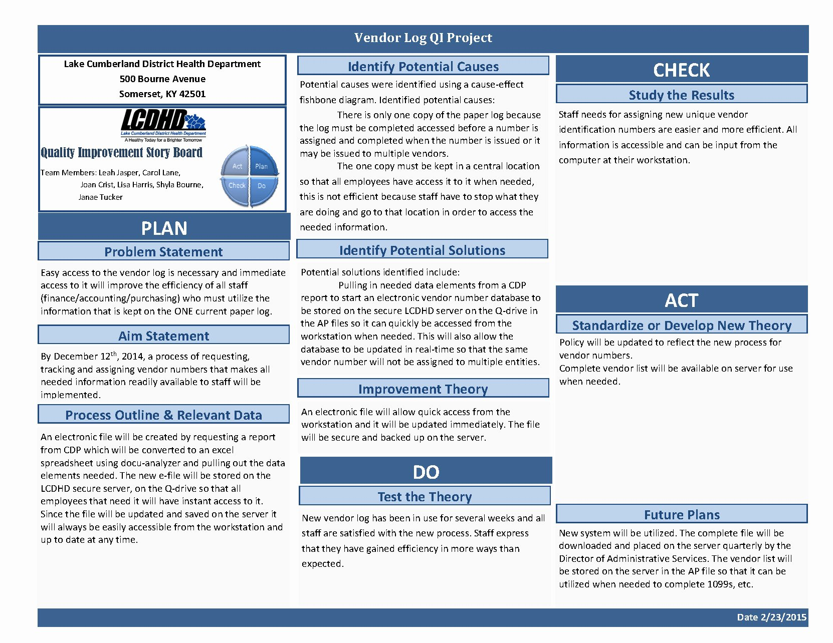 Quality Improvement Plan Template Healthcare Awesome Quality Improvement – Lake Cumberland District Health