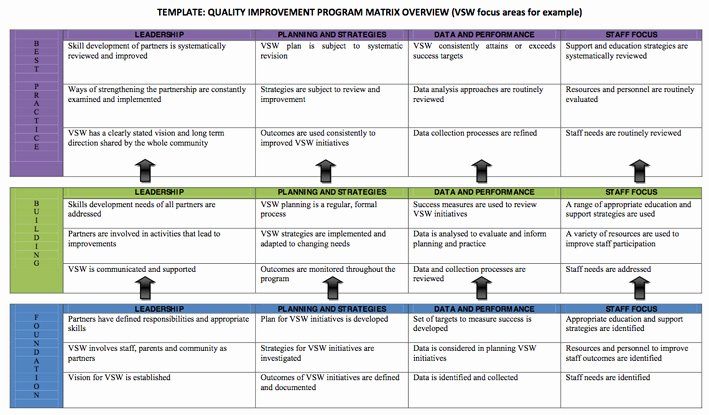 Quality Improvement Plan Template Luxury Continual Quality Improvement Matrix 6