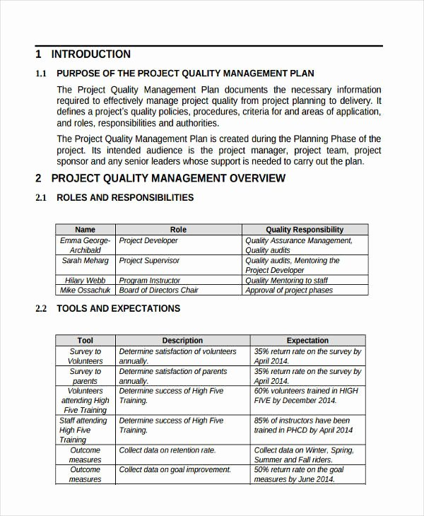 Quality Management Plan Template Beautiful 47 Management Plan Examples Pdf Word Pages