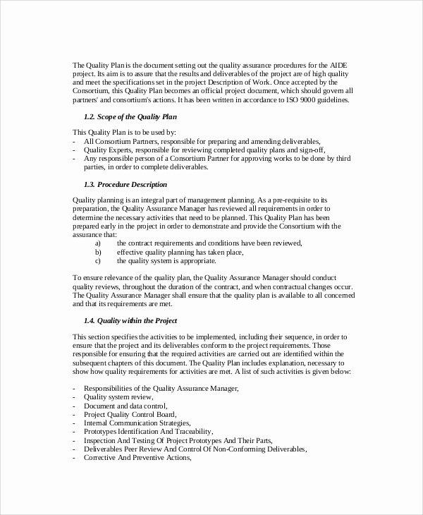Quality Management Plan Template Elegant 43 Sample Plans