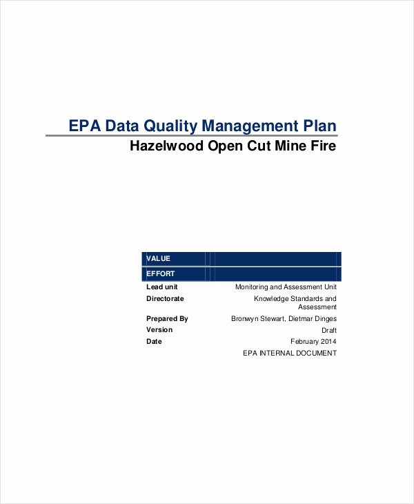 Quality Management Plan Template Fresh 7 Data Management Plan Templates Free Sample Example