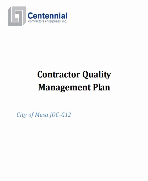 Quality Management Plan Template Inspirational 9 Quality Management Plan Templates Free Pdf Word