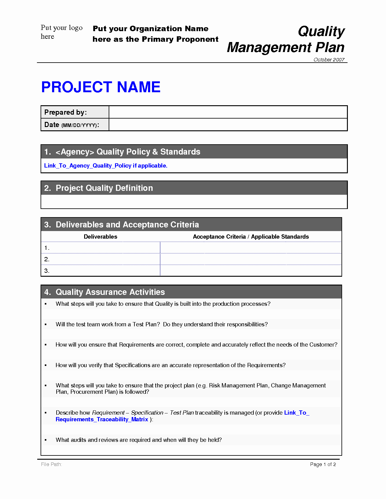 Quality Management Plan Template Luxury Project Quality Plan Template 2 by Malj