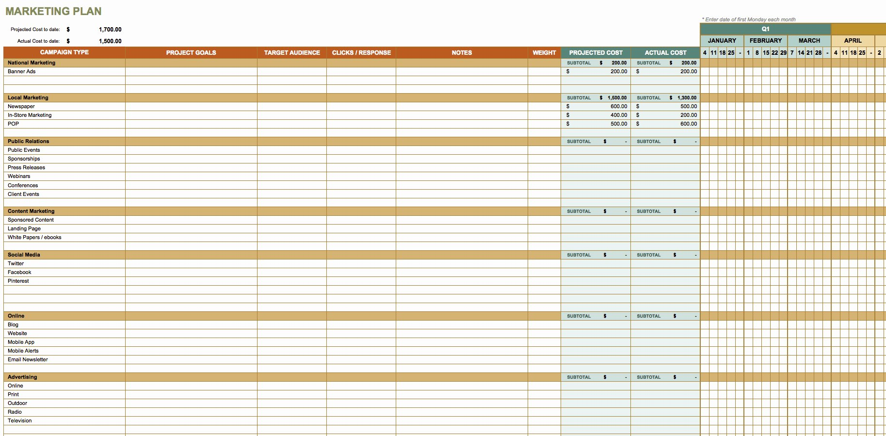 Quarterly Action Plan Template Inspirational Free Marketing Plan Templates for Excel Smartsheet