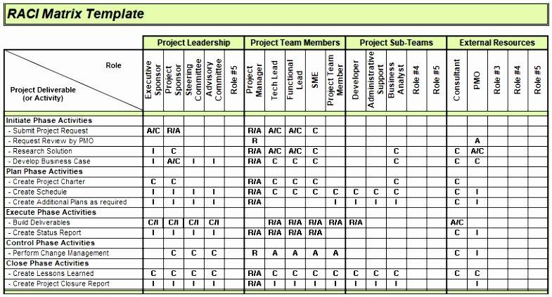 Raci Template Xls Beautiful 9 Raci Matrix Template Excel Download Raylt