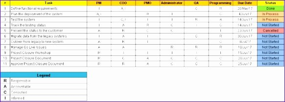 Raci Template Xls Lovely 9 Responsibility assignment Matrix Template Excel