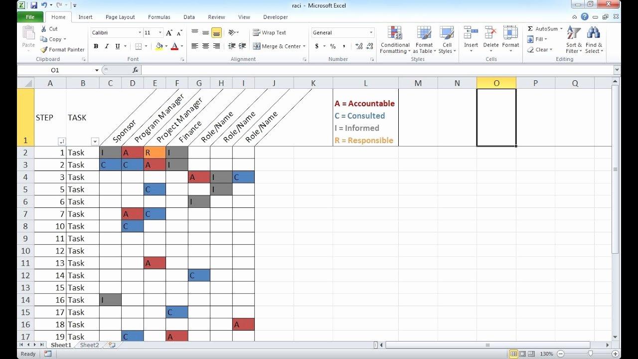Raci Template Xls New Create A Basic Raci Chart