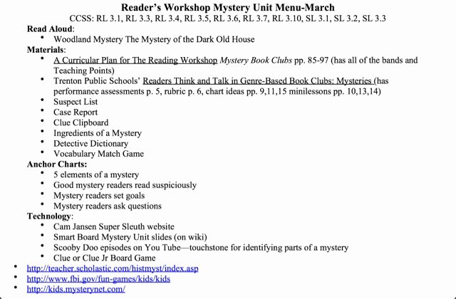 Read Aloud Lesson Plan Template New Mcelhinny S Center Stage Mystery Unit