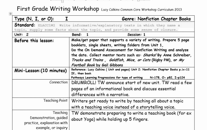 Readers Workshop Lesson Plan Template Beautiful Lucy Calkins Reading Workshop Lesson Plan Template