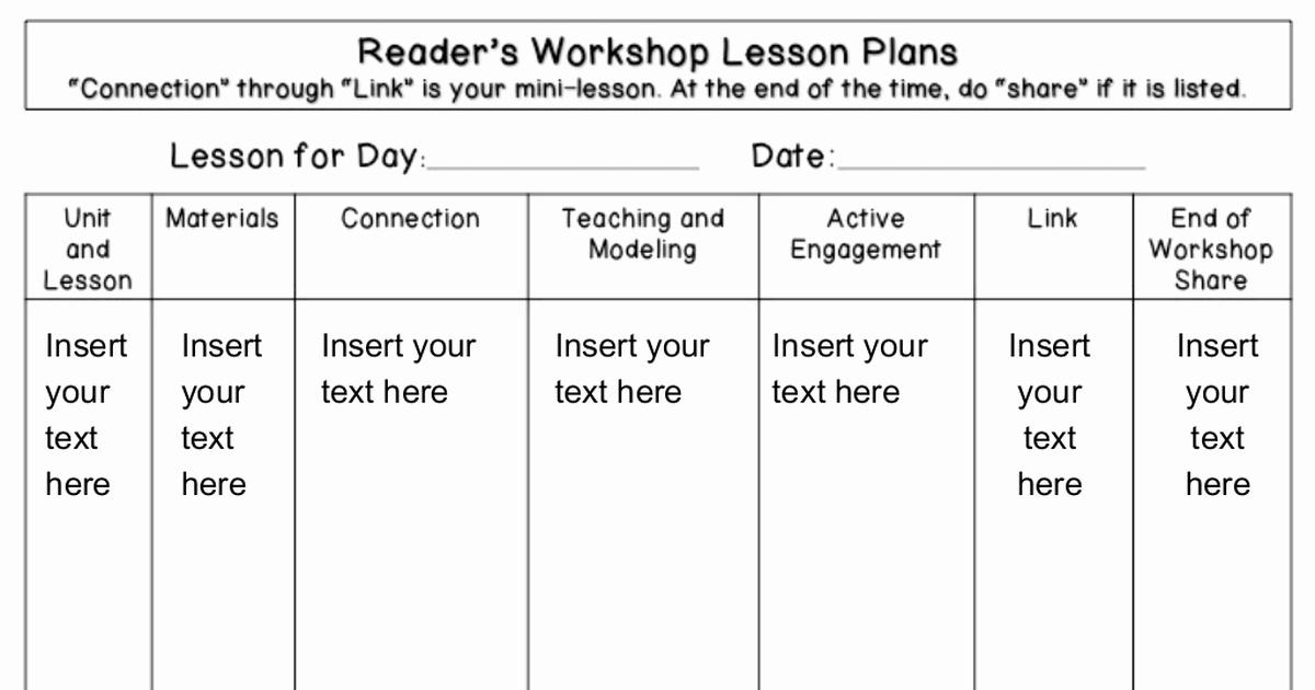 Readers Workshop Lesson Plan Template Luxury Readers Workshop Lesson Plan Template