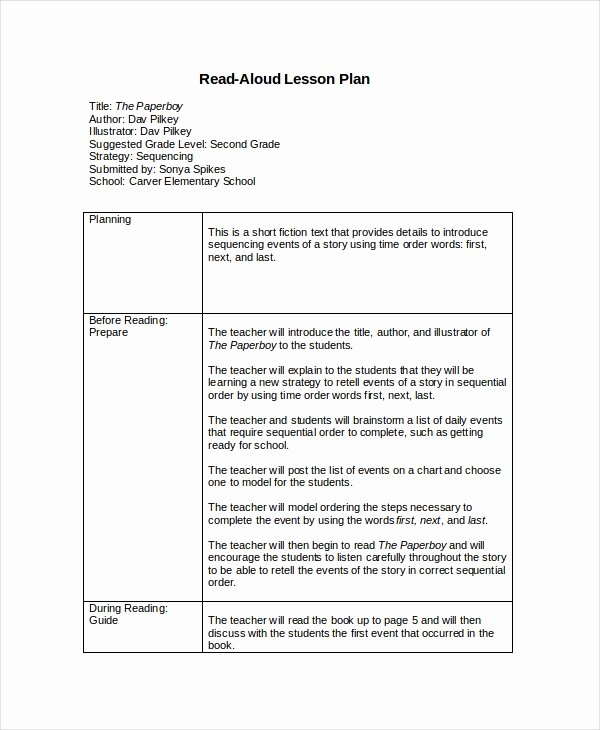 Reading Lesson Plan Template Beautiful Lesson Plan Template 10 Free Word Pdf Document