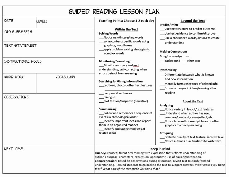 Reading Lesson Plan Template Best Of 25 Best Ideas About Guided Reading Lessons On Pinterest