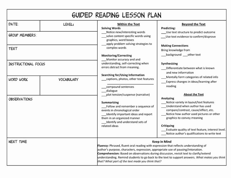 Reading Lesson Plan Template Unique Best 25 Guided Reading Template Ideas On Pinterest