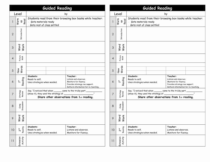 Reading Lesson Plan Template Unique Guided Reading Lesson Plan Template