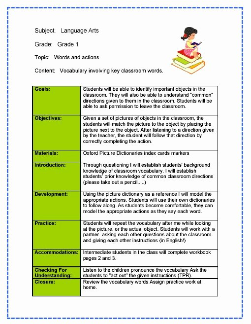 Reading Mastery Lesson Plan Template Unique Daily Lesson Plan Template