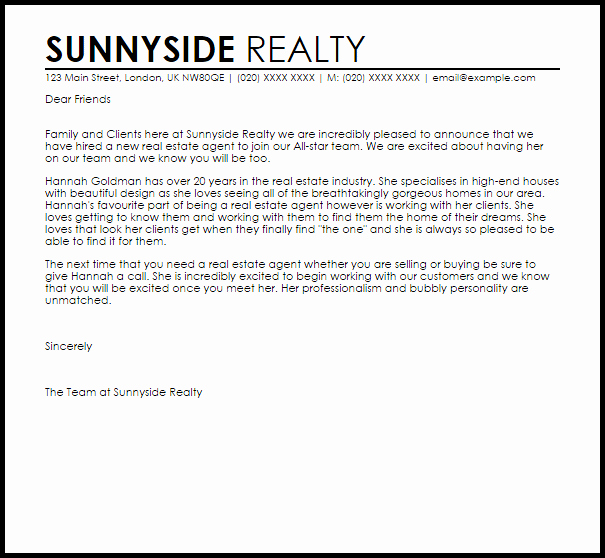 Real Estate Introduction Letter to Friends Template Fresh Letter New Job Announcement Real Estate Agent Thank You