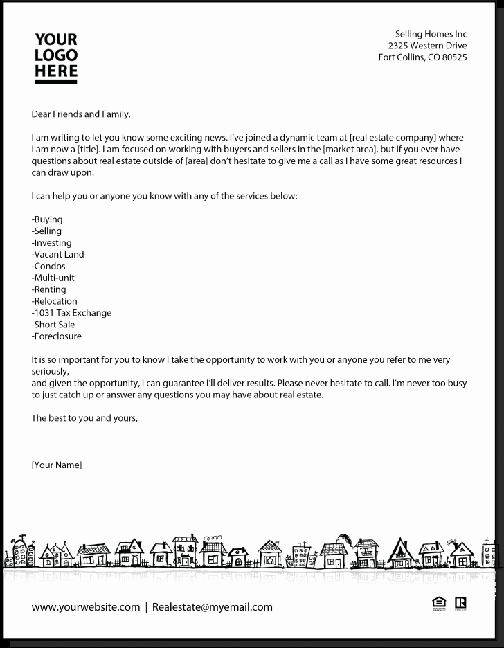 Real Estate Introduction Letter to Friends Template Lovely New Agent Letter Real Estate Pinterest