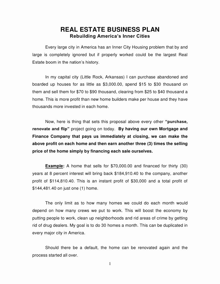 Real Estate Investor Letter Templates Elegant Real Estate Business Plan