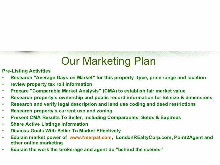 Real Estate Marketing Plan Template Inspirational Real Estate Listing Marketing Plan