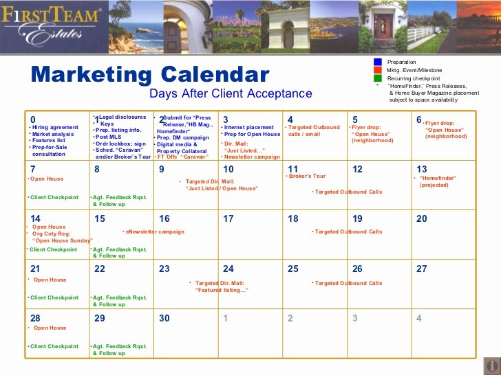 Real Estate Marketing Plan Template Luxury Marketing Calendar Days after Client