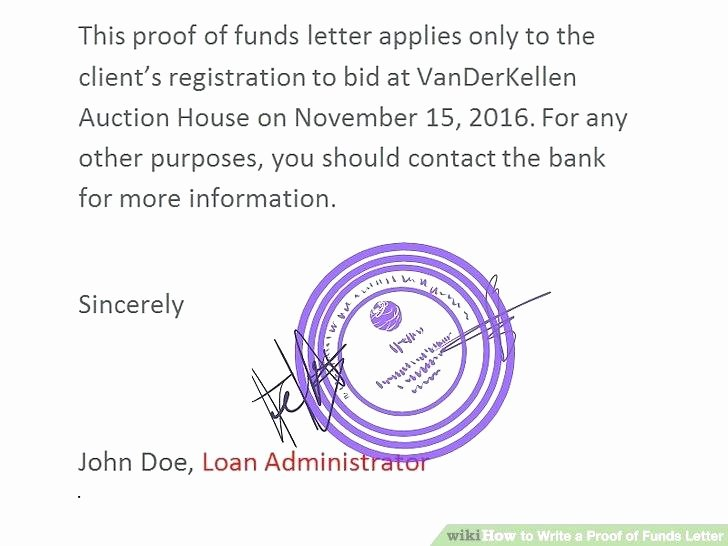 Real Estate Proof Of Funds Letter Example Beautiful Bookingholidaysub