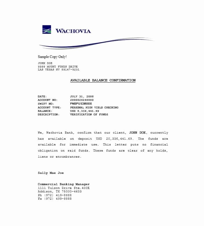 Real Estate Proof Of Funds Letter Example Luxury 25 Best Proof Of Funds Letter Templates Template Lab